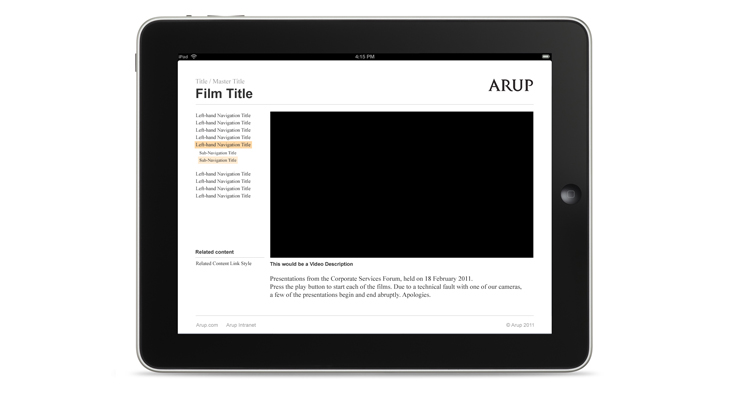 Arup - Video Library - Presentation - iPad landscape view