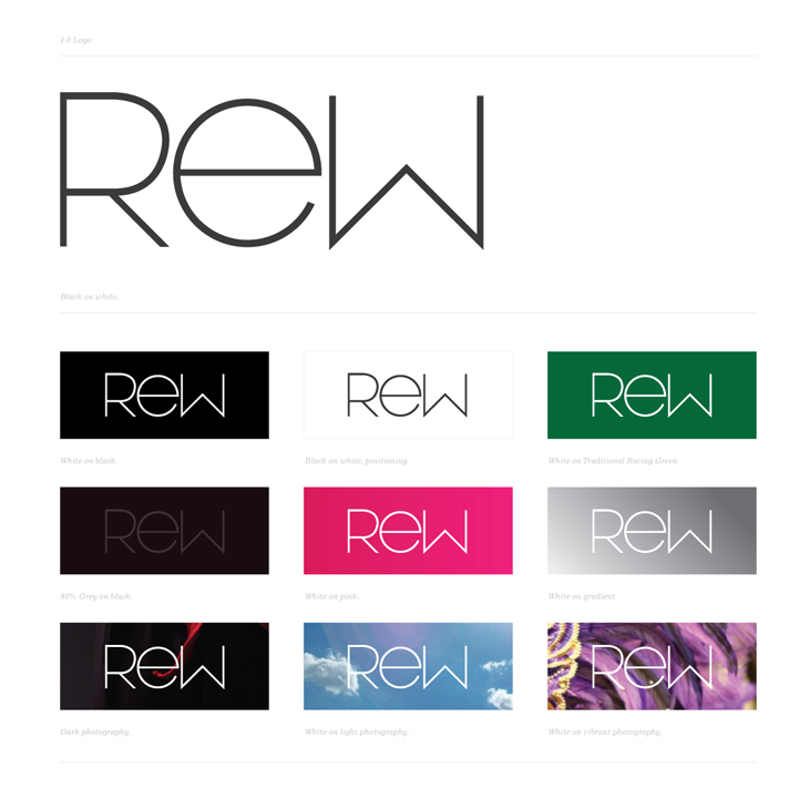 Rew - Identity - Logotype with colour and background options