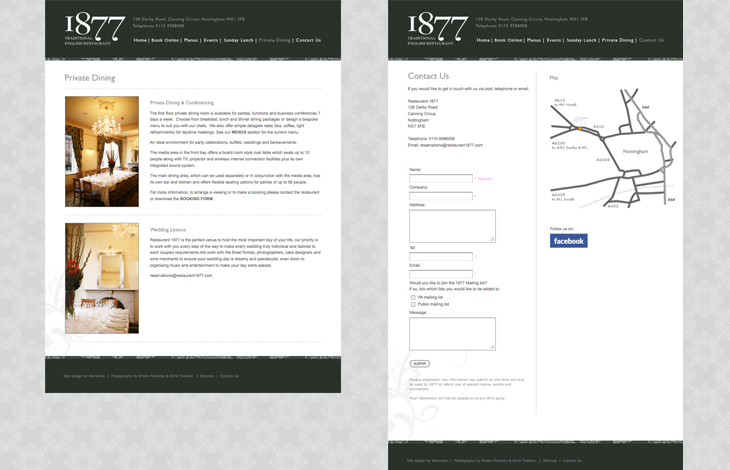 Restaurant 1877 - Website - Private Dining & Contact Us pages