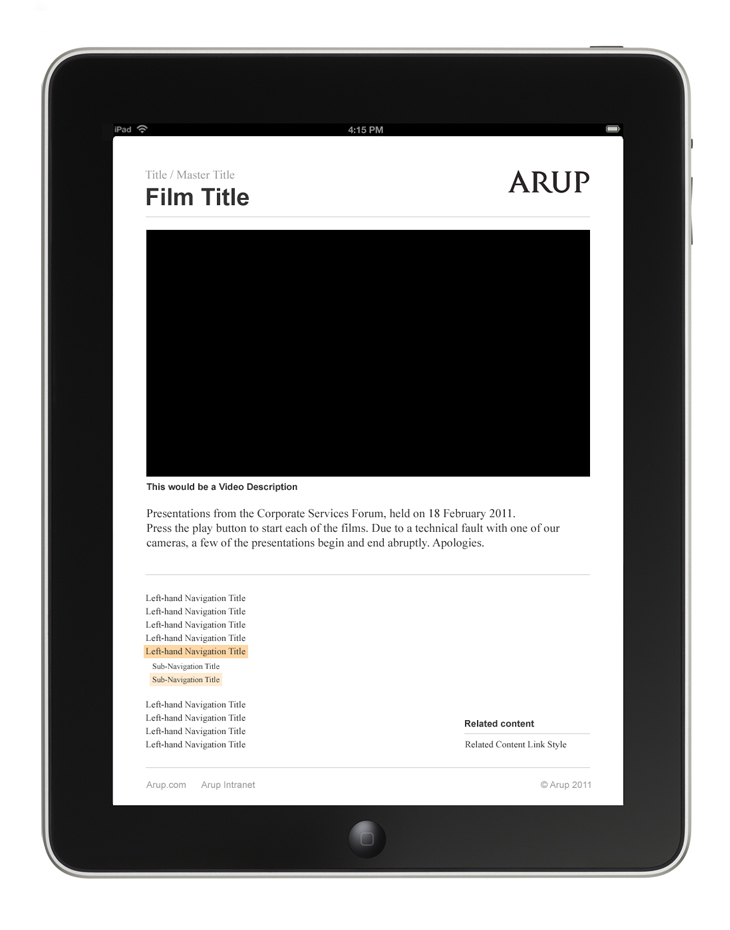 Arup - Video Library - Presentation - iPad portrait view