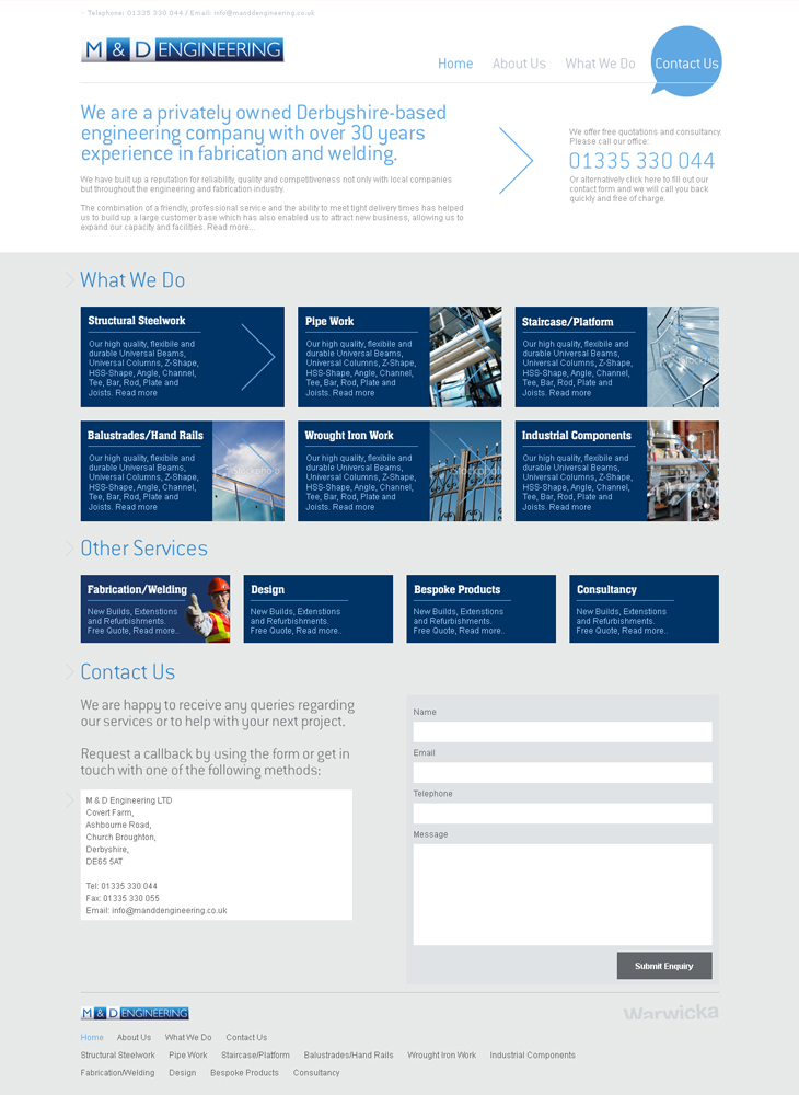 M & D Engineering - Website - Homepage