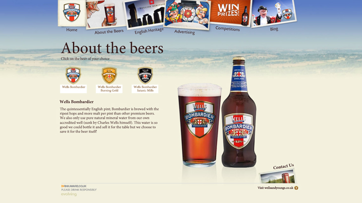 Bombardier - Website - About the Beers