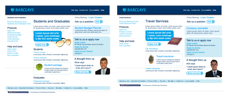Barclays - Website - Students & Graduates and Travel Services