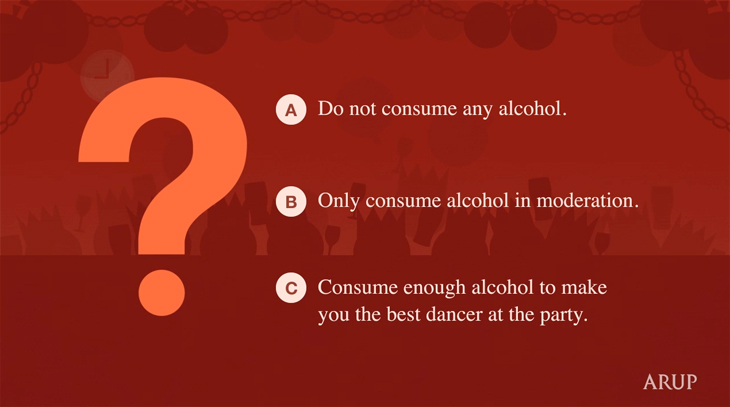 Arup - Health & Safety Video - The Christmas Party - Multiple choice