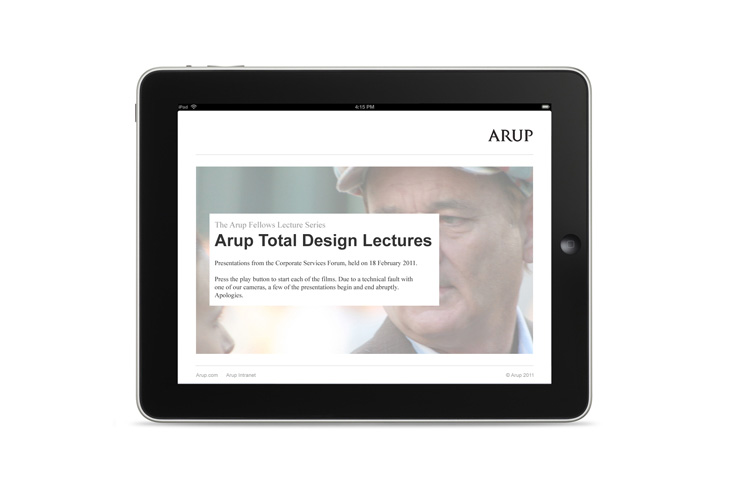 Arup - Video Library - Presentation - Index viewed on iPad
