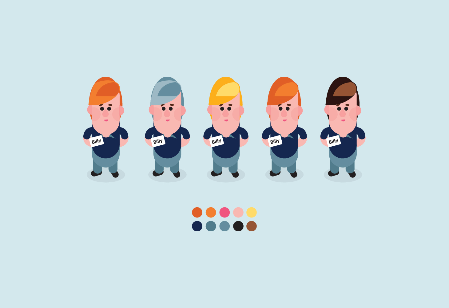 Billy - Character Illustration - Hair colour options
