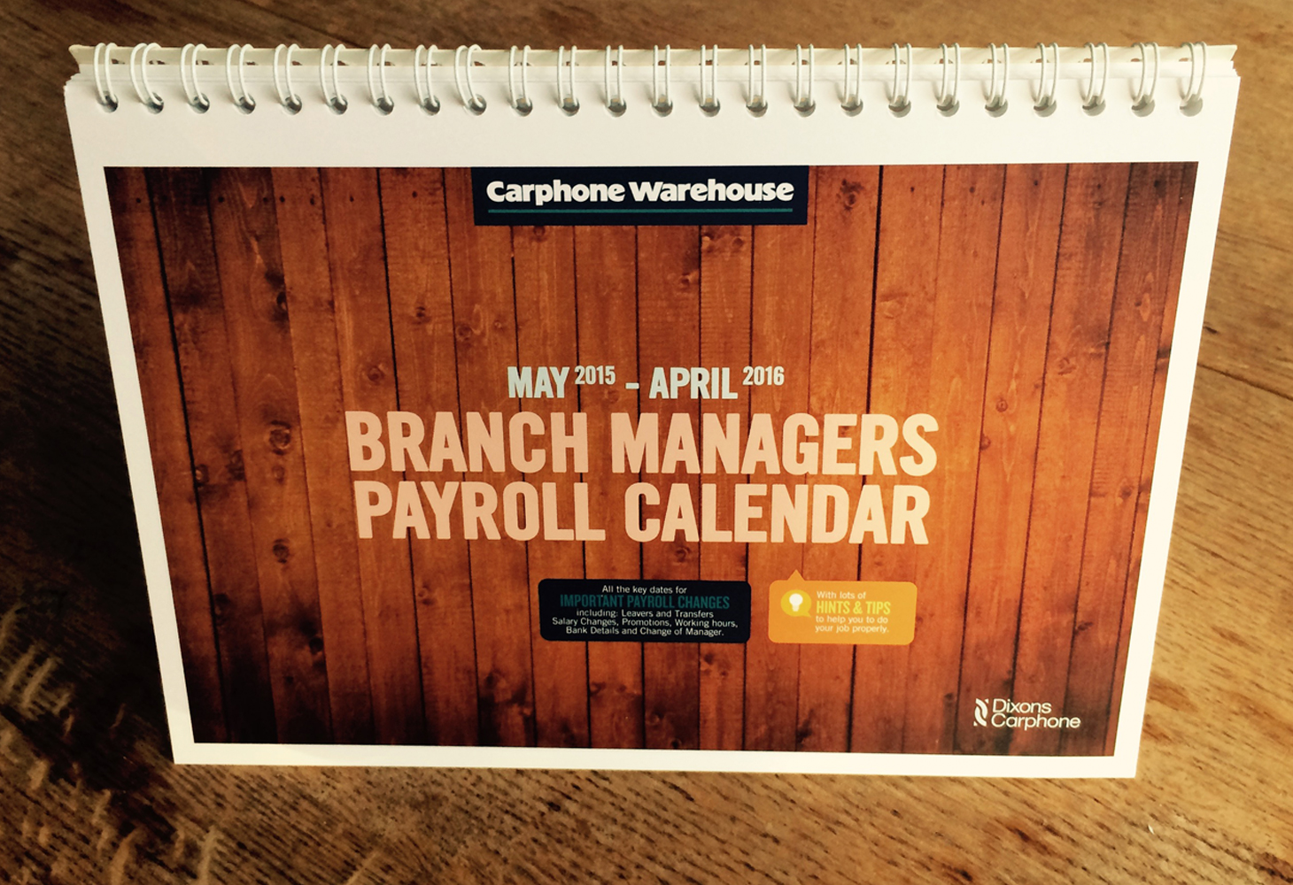Carphone Warehouse - Calendar - Front