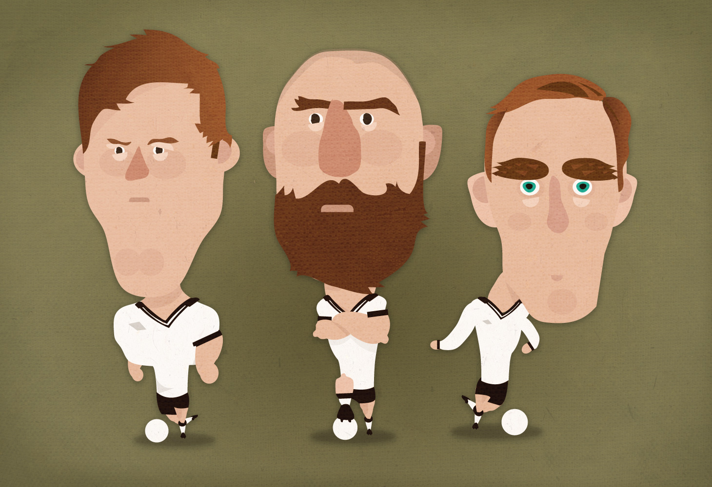 Derby County - Illustrations - Chris Martin, Jake Buxton & Richard Keogh