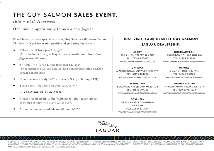 Jaguar - Guy Salmon Event - Poster reverse