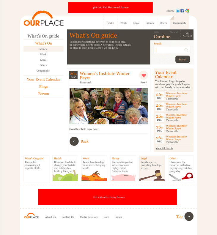 Our Place - Website - What's On Guide