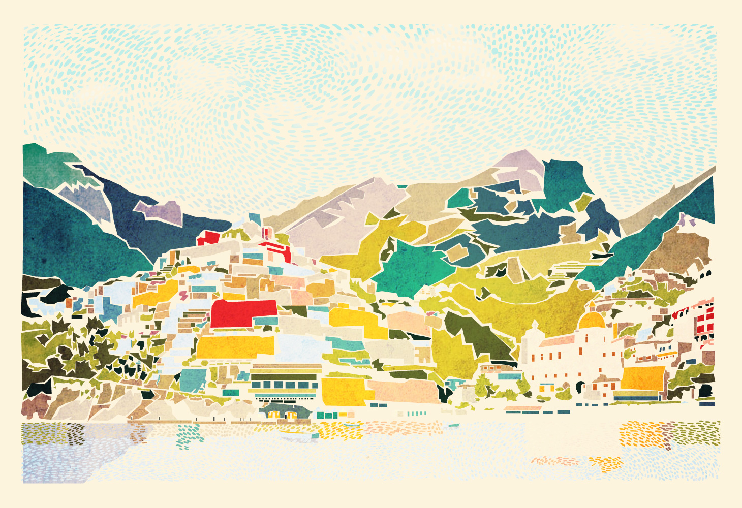Positano - Illustration - coastal view