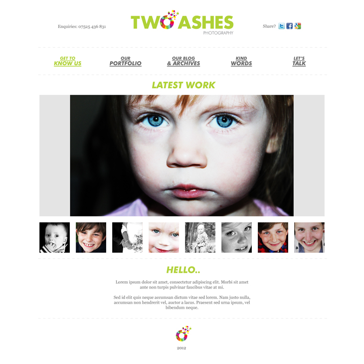 Two Ashes - Website - Homepage
