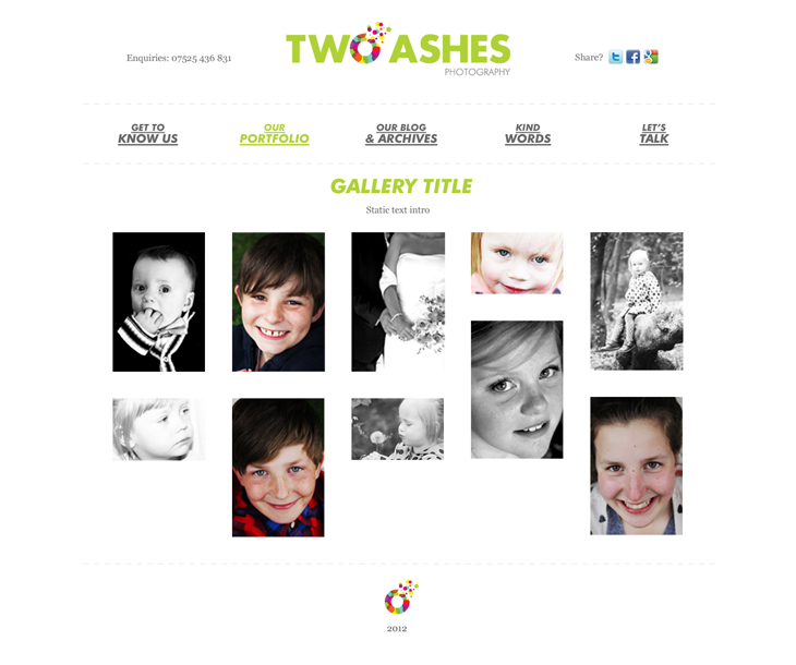 Two Ashes - Website - Portfolio/Gallery