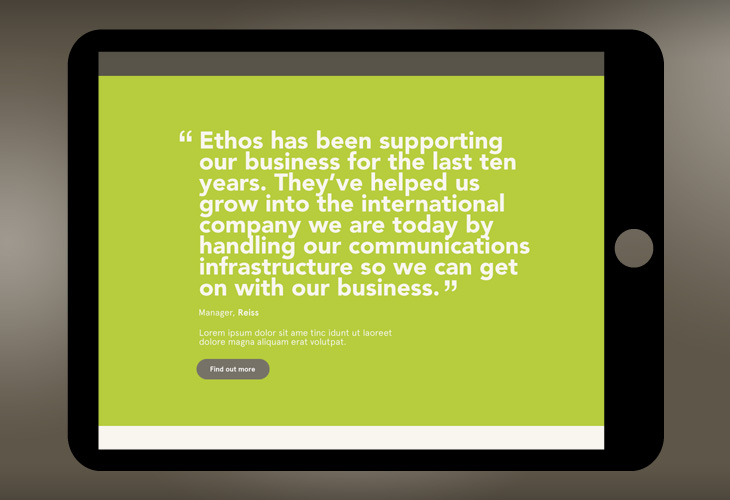 Ethos - Website - Landscape tablet view