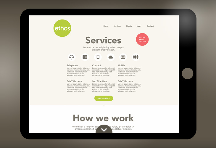 Ethos - Website - Scroll down for more content pop up widget