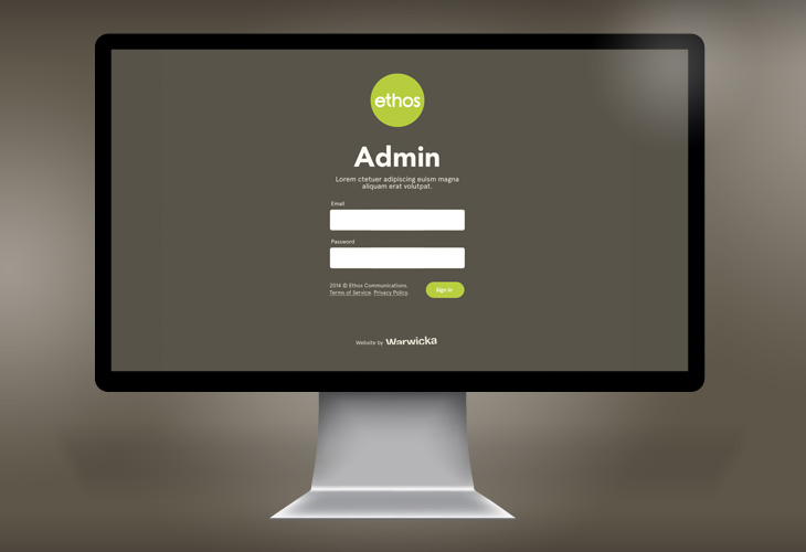 Ethos - Website - CMS / Admin Login view