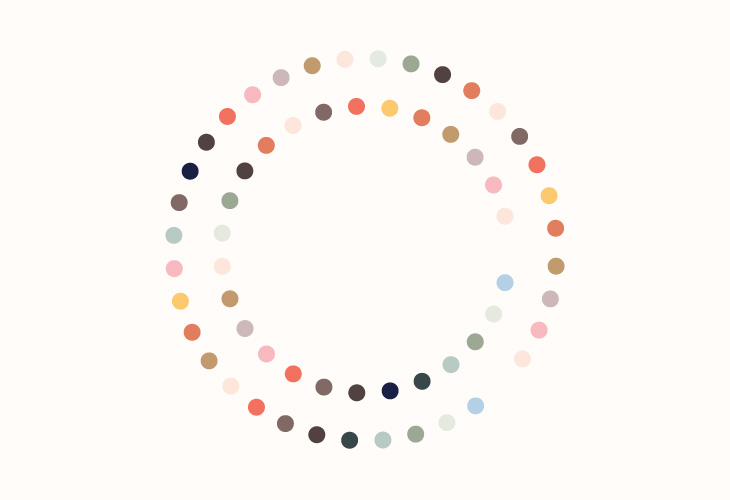 Wow - Circles - Illustration - Colour palette on white