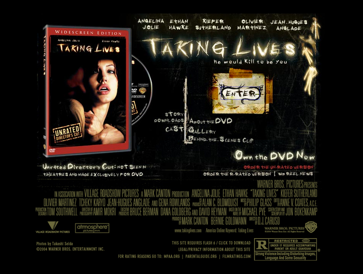Warner Brothers - Taking Lives - Website - Splash