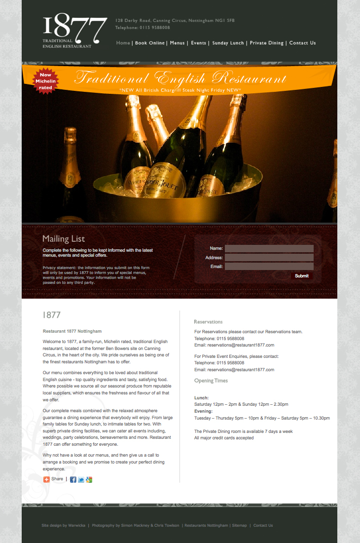 Restaurant 1877 - Website - Homepage